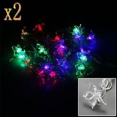 2x Christmas Light RGB 20 LEDS Petals Flowers Shape Fairy String Lights for Wedding Party Xmas Decoration Christmas Ornaments Waterproof outdoor IP64 by A1store by A1store. $17.51. Color: RGB, Clear String. LED Qty: 20 LEDs bulbs, Petals Flowers Shape. Waterproof: IP64. RGB 20 LEDS Petals Flowers Shape Fairy String Lights. Working Voltage: 110V ,Power: 2W , Plug Type: US standard. Application:  Market Engineering lighting, architectural decoration, decoration of trees along...