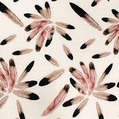 """Navajo Feathers on Light Taupe Crepe De Chine Fabric - Lovely navajo indian inspired feather print in black and mauve pink on a light taupe color crepe de chine fabric.  Fabric is light weight and drapey with a slight sheen.  Largest feather measures 8"""" for scale.  Crepe de chine is a light and fine silk like woven fabric with a slight crepe texture great for dresses, tops, scarves, skirts, and more!  ::  $6.50"""