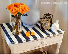 Paint Stripes on Table Top - she used homemade chalk paint.  MUST. TRY.  LOVE!!!