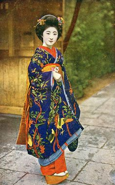 Maiko Momotaro in a Dove Pattern Kimono 1922    The Dove has a long history in Japanese myths and legends and is considered the embodiment of the guardian god of battles, who protects the people of Japan from war.