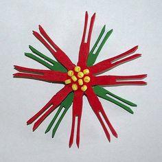 Clothespin Poinsettia Craft