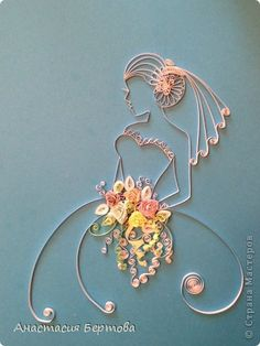 Картина панно рисунок Квиллинг Невеста Бумажные полосы фото 1