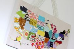 Great U.S. map with fabric scraps.