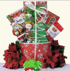 What a festive holiday gift basket  for this wonderful holiday season. Our Children's Holiday Christmas Gift Basket will bring a smile to their faces when they see this fun and festive holiday gift basket, which has been designed especially for your little loved ones. $49.99 http://www.littlegiftbasketboutique.com/item_920/Childrens-Holiday-Christmas-Gift-Basket.htm