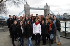 The London study abroad group with a famous bridge in the background.