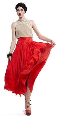this vena cava monarchy dress has everything we want for a summer wardrobe. that crimson red color is to die for, and we love the length and flow of this flirtatious skirt. a true must-have!