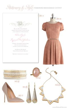 Stationery & Style: Feminine Bridesmaid Outfit | featuring our 'Nina' wedding invitation