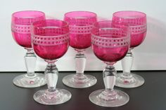antique crystal cranberry Port glasses, 1880 England