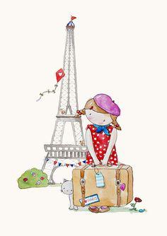nurseri art, children watercolor, pari french, nursery art, art prints