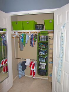 Additional inexpensive organization ideas for a children's nursery closet - should also organize clothes by age (0-3 mo, etc) and the extra hanging rack is great for short kids' clothing