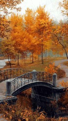 Autumn foliage with bridge