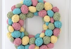 pastels, water balloons, front doors, easter decor, easter wreaths