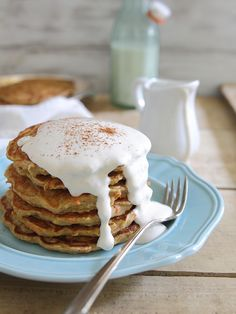 Apple carrot cake pancakes with maple cream cheese topping