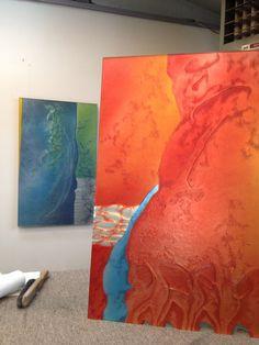 "Hanging Glass Sculpture 36""x24"" each by Markian"