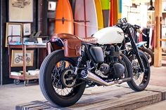 motorcycles, bike, surfboard, garag, saddl, triumph bonnevill, leather jackets, leather bags, cafe racers