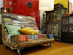 couch, benches, recycled books, seat, art, thought, reading chairs, furniture, old books