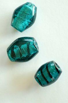 Huge Teal Glass Foil Beads
