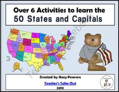 States and Capitals Activities from Teachers Take Out on TeachersNotebook.com (55 pages)  - Fun Activities for the 50 States and Capitals $