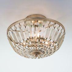 Antiqued Crystal Basket Semi-Flush Ceiling Light