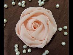 DIY chiffon rose,fabric rose tutorial,how to make - YouTube