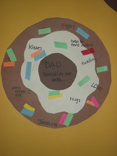 DAD sprinkles me with... donut cutout for Father's Day