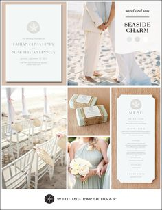 If you're planning a seaside wedding, aim for an easy, breezy feel at your ceremony and reception, to complement your beautiful location. For a light and airy feel that works well in a beachy environment, use pale cool tones paired with crisp white in this Seaside Inspiration Board.
