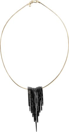 Jet Feather Necklace with Black Diamonds by Jacqueline Cullen