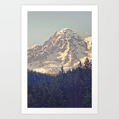 Mount Rainier Retro Art Print by Kurt Rahn | Society6
