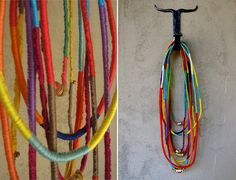 cord covers or friendship bracelet-like necklaces