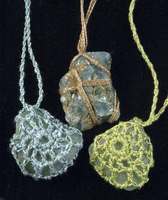 Crochet necklace pendant--Can use on sea shells too
