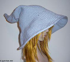 Grey Wizard Hat  by April Draven  Crochet Patterns Halloween pattern halloween, hats, grey wizard, wizards, hat patterns, halloween crochet, crochet patterns, wizard hat