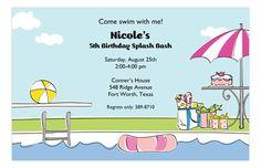 Pool Side Pink Bash Invitation