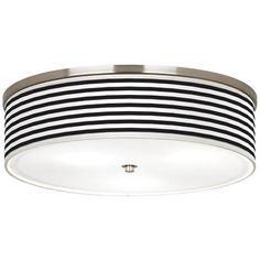 "Black and White Horizontal Stripe Nickel 20 1/4"" Wide Ceiling Light"