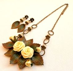 Fall leaves  Roses  Fall jewelry set  Romantic by insoujewelry, $68.00