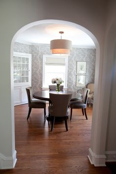 Wallpapered Dining Room contemporary dining room