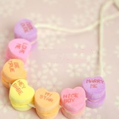 Click Pic for 30 Valentines Day Kids Crafts - Conversation Heart Necklace - DIY Valentines Crafts