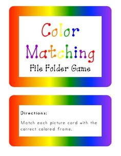 Color Matching File Folder Game