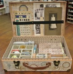 #ROAKDIY Collage supply suitcase vintage suitcases, collag suppli, old suitcases, gift ideas, craft supplies, collages, art supplies, suppli suitcas, crafts