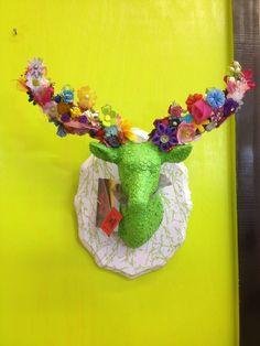 Flower Power Lime Green Garden Faux Taxidermy Deer Head Wall Mount. $60.00, via Etsy.