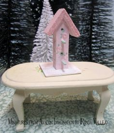 Miniature dollhouse shabby chic Christmas Holiday Winter birdhouse with pink hand painted roses.  via Etsy.