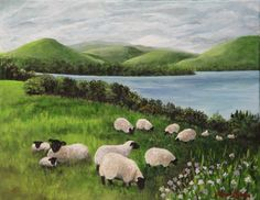 Sheep in the Pasture Painting by Laurie Golden