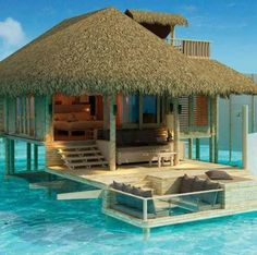 Maldives - House above the clean blue water