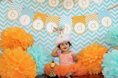 birthday parti, pom poms, orang, birthday theme, color, chevron party, giraff, first birthdays, 1st birthdays