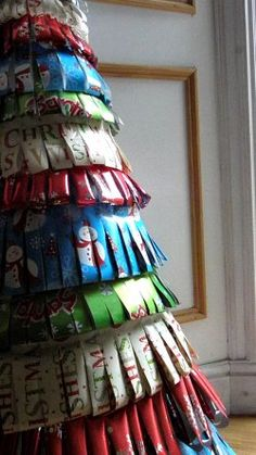 paper tree using wrapping paper for each row