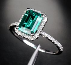 Gorgeous 2.56ct Emerald Engagement Ring Wedding Ring Diamond by TheLOGR