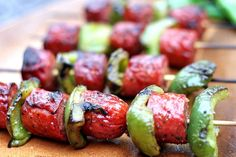 Grilled Balsamic Glazed Sausage  Pepper Skewers - Nibbles By Nic