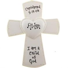 $10.95 - Personalized Baptism Gift - Cross Ornament