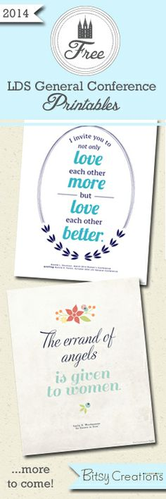 Free General Conference printables from BitsyCreations #ldsconf
