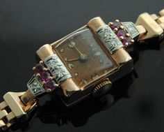 Vintage Gold Watch  Rose Gold Diamond Ruby Watch by SITFineJewelry, $2850.00