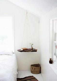 small natural edge hanging wood shelf